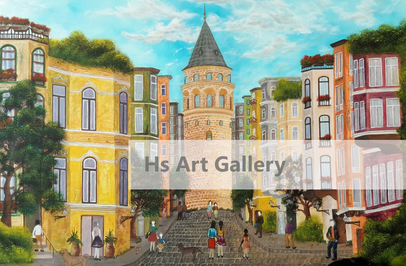 Galata Tower Oil Painting