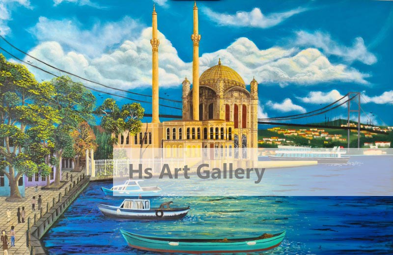 Ortaköy Mosque İstanbul Oil Painting Big Wall Art